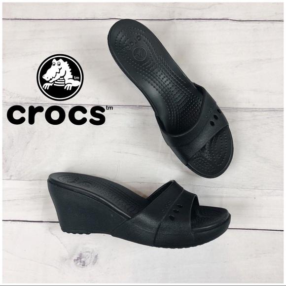 7e0a30c01ea5 CROCS Shoes - Crocs Black Heel Sandal Wedges Size 10 Wide